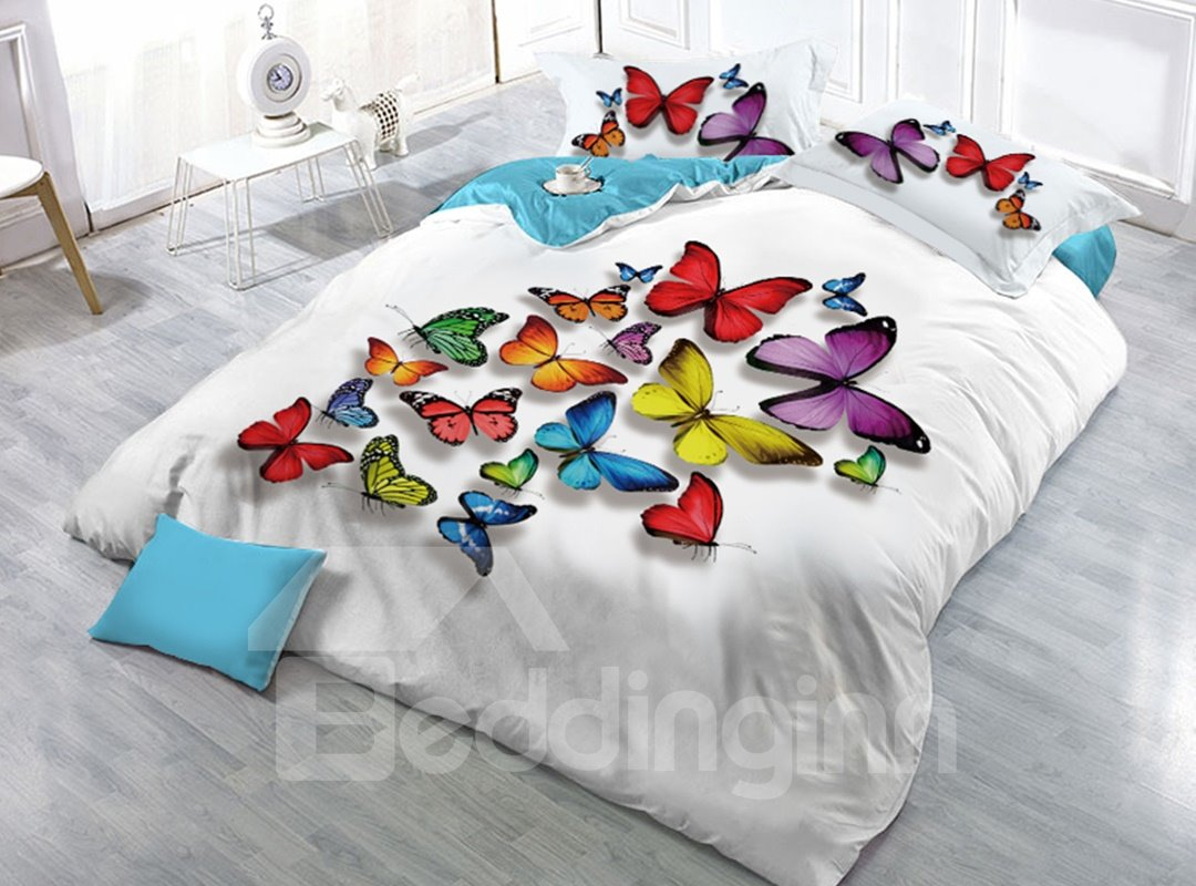 Vivid Colorful Butterflies Printed 4-Piece 3D White Bedding Sets/Duvet Covers