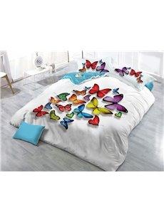 Vivid Colorful Butterflies Printed 4-Piece 3D White Bedding Sets/Duvet Covers