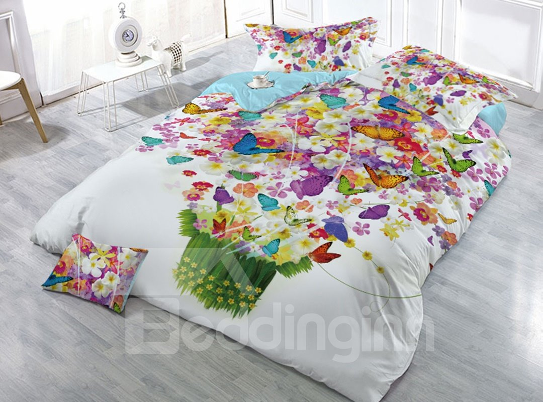 Blooming Flower and Butterflies Printing 4-Piece 3D Bedding Sets/Duvet Covers