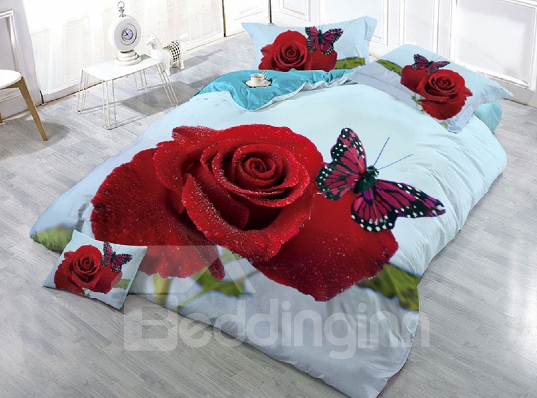 Fresh Red Rose and Butterfly Printed 4-Piece 3D Bedding Sets/Duvet Covers