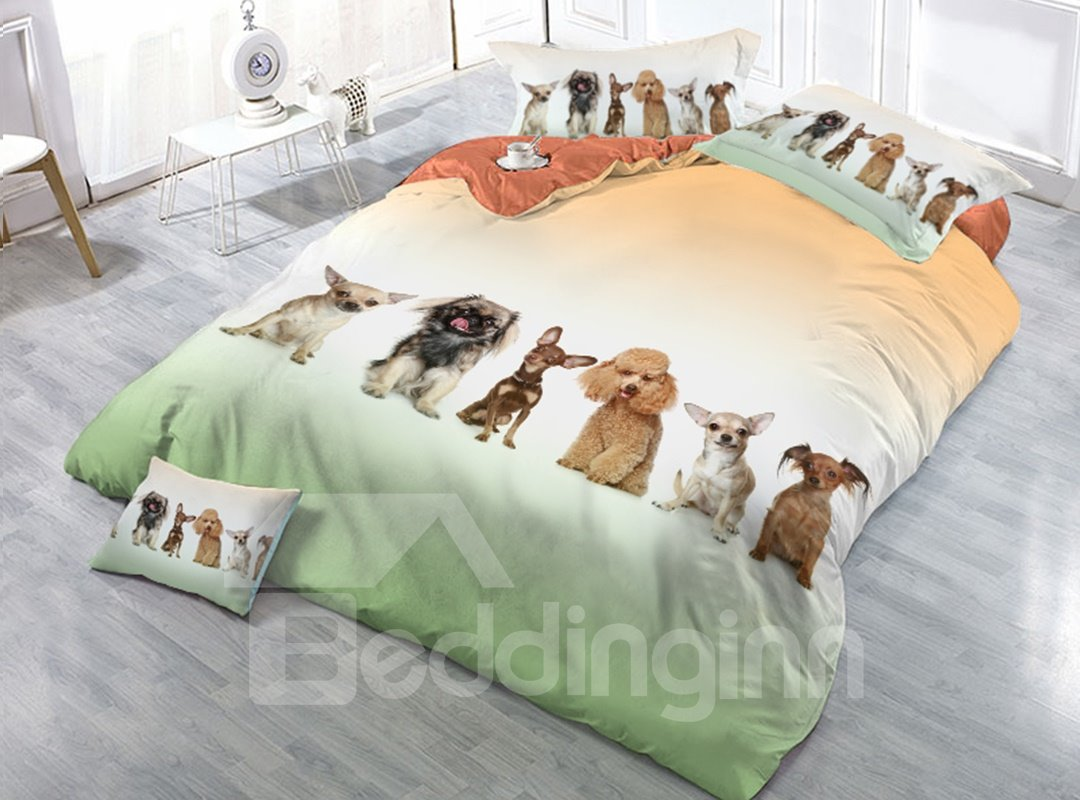 Six Sitting Dogs Printing 4-Piece 3D Bedding Sets/Duvet Covers