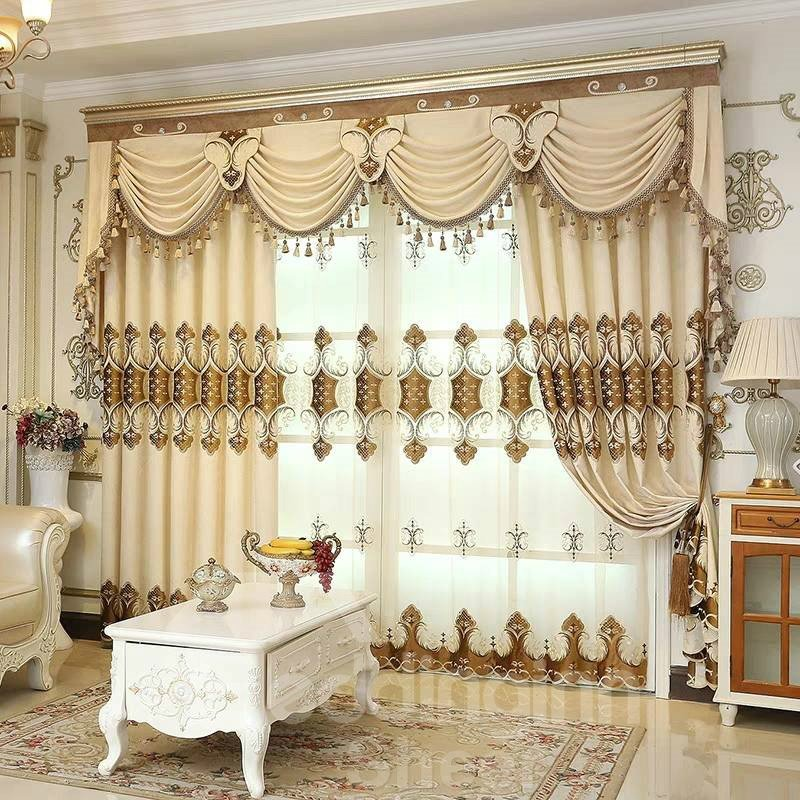 Thick Embroidery European Drapes Grommet 2 Panels Sheer Pic