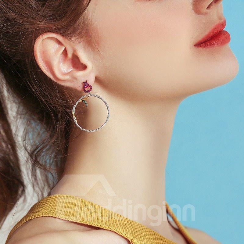 Creative Beautiful Fashion Round Rose Leave Earrings