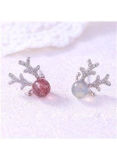 Reindeer Natural Strawberry Crystal Moonstone Earrings
