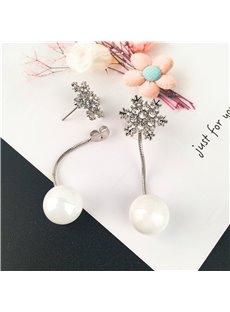 White and Beautiful Snowflake Pearl Earrings