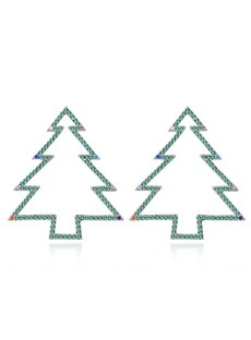 Exquisite Simple Christmas Tree Frame Earrings