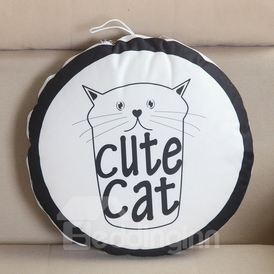 Cartoon Cute Cat Printed Polyester Quilt Dual-Use Throw Pillow