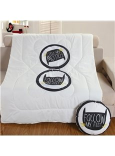 Simple White and Black Cat Theme Printed Quilt Dual-Use Throw Pillow
