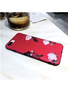 Retro Art Red Phone Shell Pink Roses Pattern  iPhone Case
