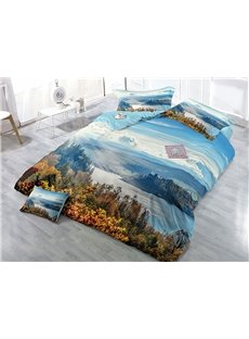 River and Mountain Natural Scenery Printed Cotton 4-Piece 3D Bedding Sets/Duvet Covers