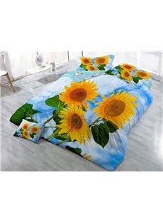 Vigorous Sunflower and Blue Sky Printed Cotton 4-Piece 3D Bedding Sets/Duvet Covers