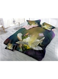 Blooming Flower Printed Cotton 4-Piece 3D Bedding Sets/Duvet Covers