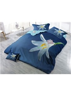 White Flower Printed Cotton 4-Piece 3D Blue Bedding Sets/Duvet Covers
