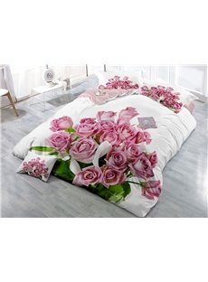 A Bouquet of Pink Roses Printed Cotton 4-Piece 3D Bedding Sets/Duvet Covers