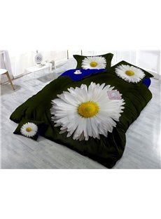 White Daisy Printed Cotton 4-Piece 3D Black Bedding Sets/Duvet Covers