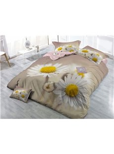 White Daisies Printed Cotton 4-Piece 3D Bedding Sets/Duvet Covers