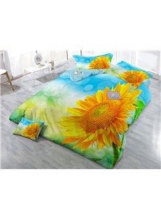 Splendid Sunflower Printed Cotton 4-Piece 3D Yellow Bedding Sets/Duvet Covers