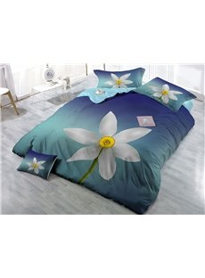 White Blooming Flower Printed Cotton 4-Piece 3D Bedding Sets/Duvet Covers