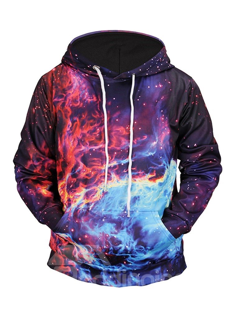 Cool Design Loose Model Vibrant Color Pullover 3D Painted Hoodie