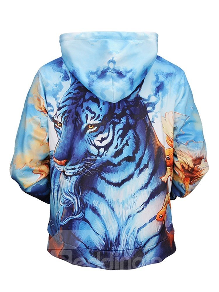 Cool Tiger Athletic Loose Model Pullover Kangaroo Pocket 3D Painted Hoodie