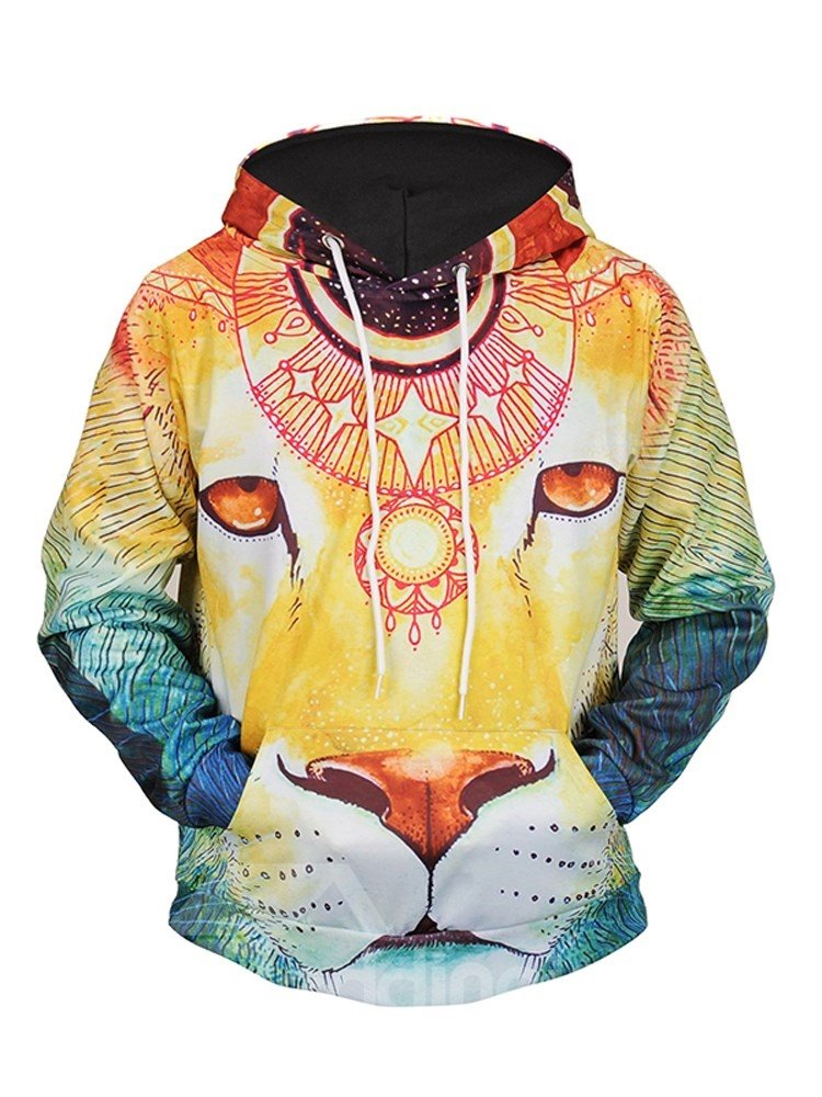 Lightweight Pullover Workout Loose Model Kangaroo Pocket 3D Painted Hoodie