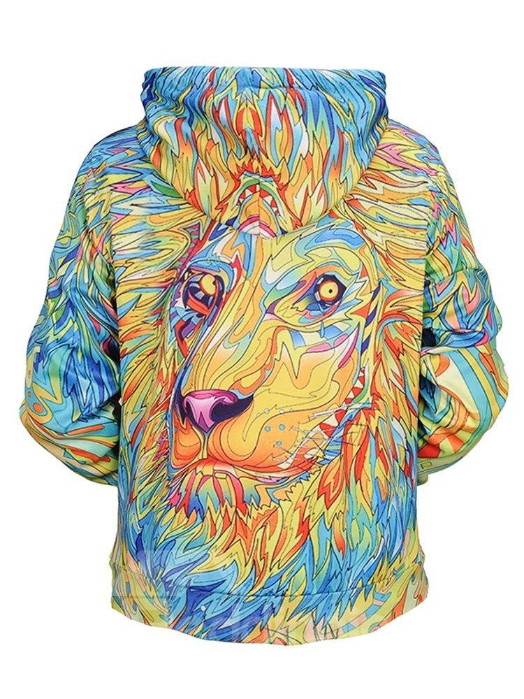 Loose Model Casual Style Pullover Kangaroo Pocket 3D Painted Hoodie
