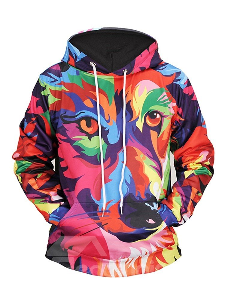 Colorful Wolf Cool Design Pullover Loose Model 3D Painted Hoodie