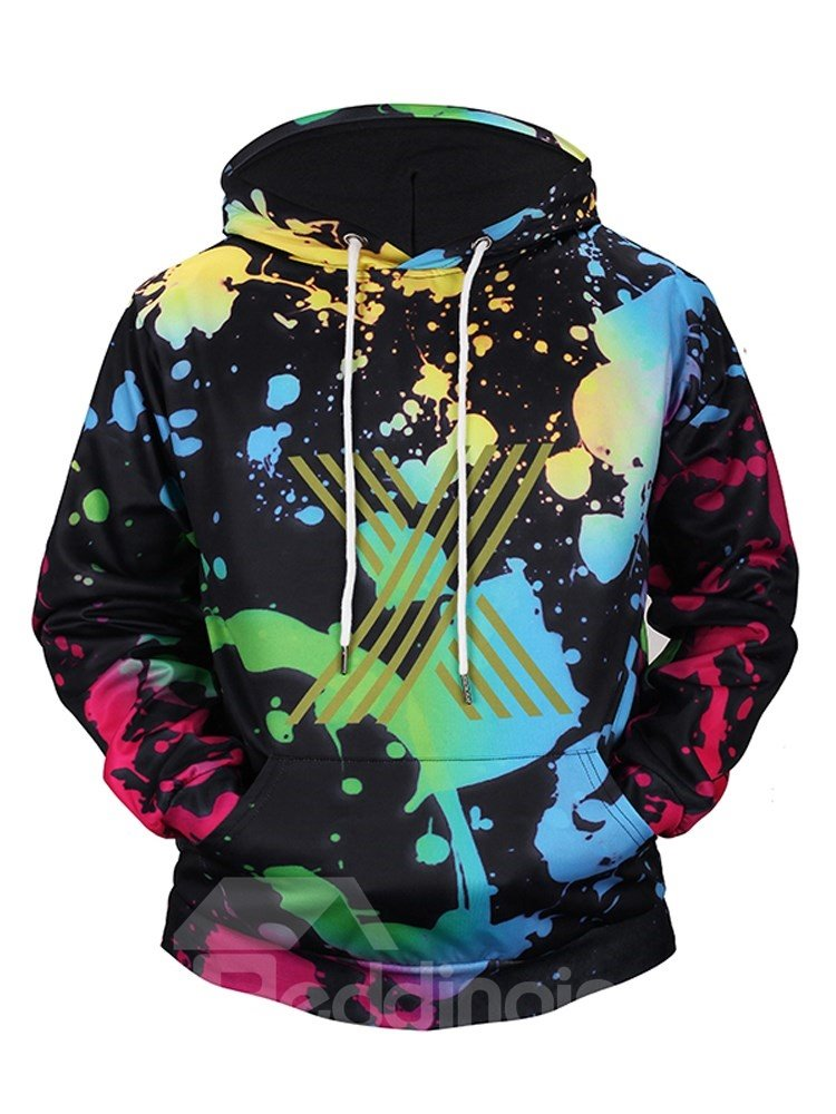 Multicolor Fastness Loose Model Polyester 3D Painted Hoodie