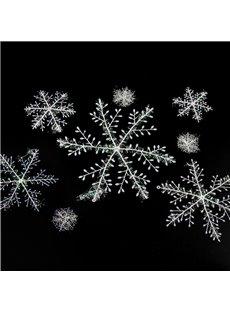 Christmas Ornaments Plastic Brushed Snowflakes Christmas Tree Hanging Window Display Dress Up