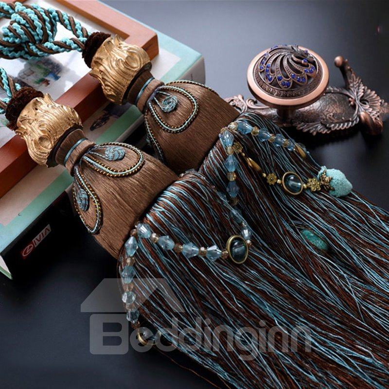 1 Pair Tassel Curtain Tiebacks Rope Braided Holdbacks for Bedroom