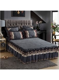 Heat Preservation Crystal Velvet Grey Embroidered Lace Bed Skirt
