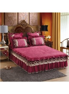 Pure Color Exquisite Quilting Embroidered Lace Red Bed Skirt