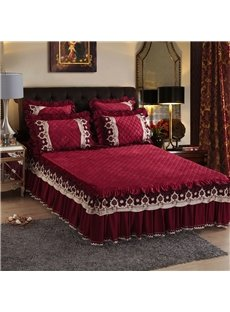 Burgundy Pure Color European Style Crystal Velvet Bed Skirt