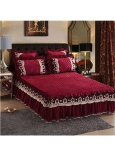 Burgundy Pure Color European Style Crystal Velvet Bed Skirt