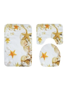 Shell White Sand Starfish 3-Piece Toilet Seat Cover