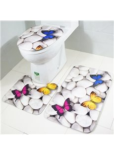Butterfly on Pebbles3-Piece Toilet Seat Cover