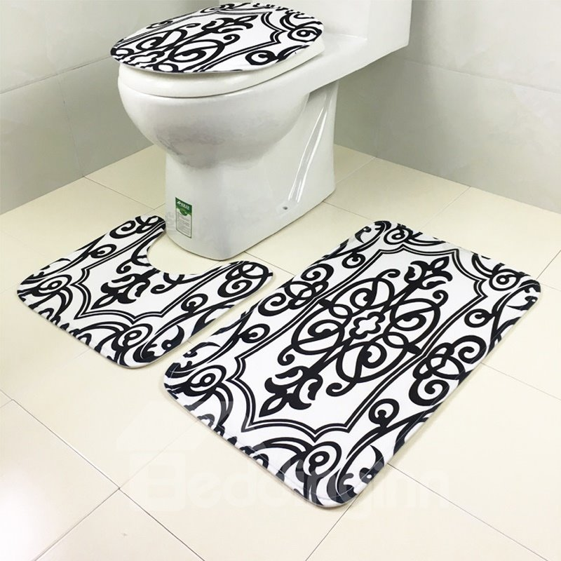 Classic Black and White Striped Zebra Pattern 3-Piece Toilet Seat Cover