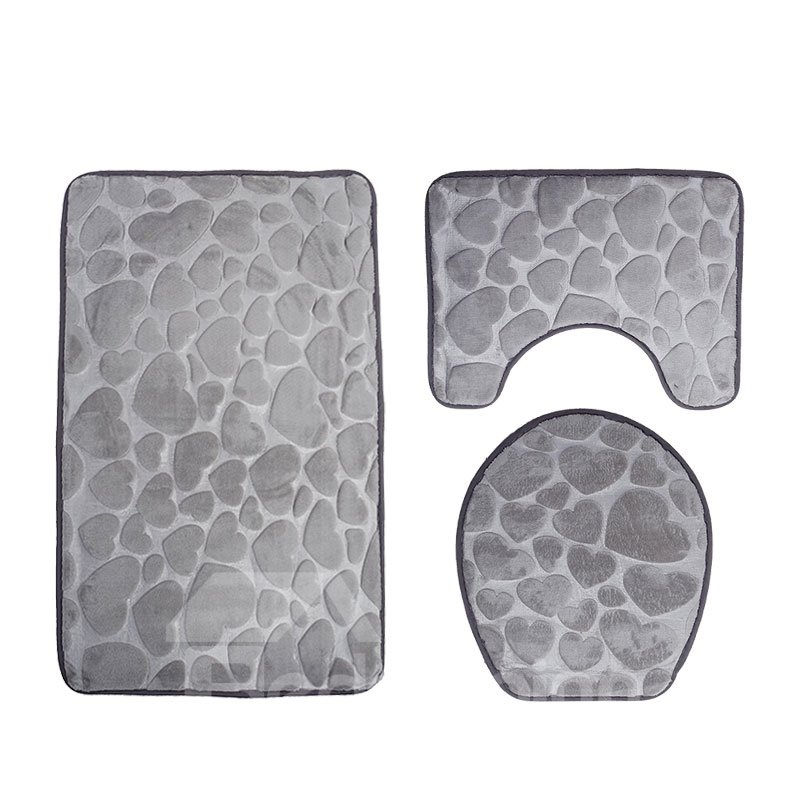 Solid Color Love Pattern Embossed 3-Piece Toilet Seat Cover