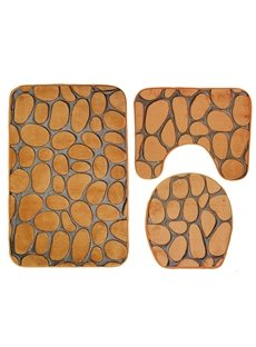 3D Pebble Toilet Mat 3-Piece Toilet Seat Cover