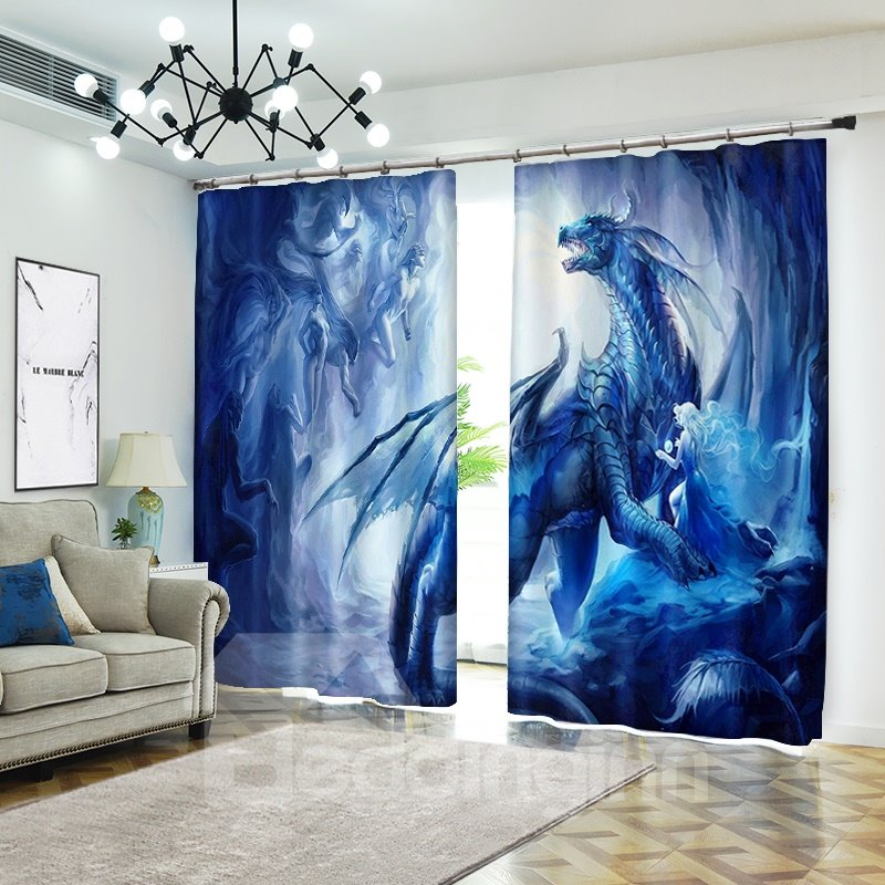 3d Dragon Elves Cartoon Blue Curtain Bathroom Blackout Pic