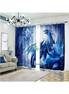 3D Dragon and Elves Cartoon Blue Curtain Bathroom Blackout