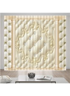 Vivid Bonded Leather Beige Printed Curtain for Living room