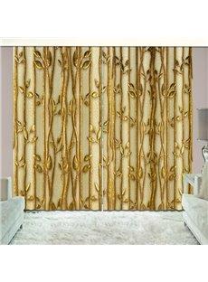 Golden Plants Shading Curtain Light up Room 3D Vivid 2 Panles