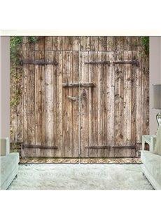 Old Wooden Barn Door of Farmhouse Blackout Vivid 3D Curtain