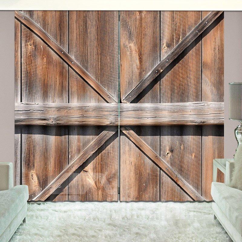 Old Wooden Barn Door of Farmhouse Rural Life Vivid Curtain