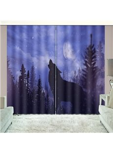 Howling Wolf in Night Bold Graphics Vivid 3d Print Curtain