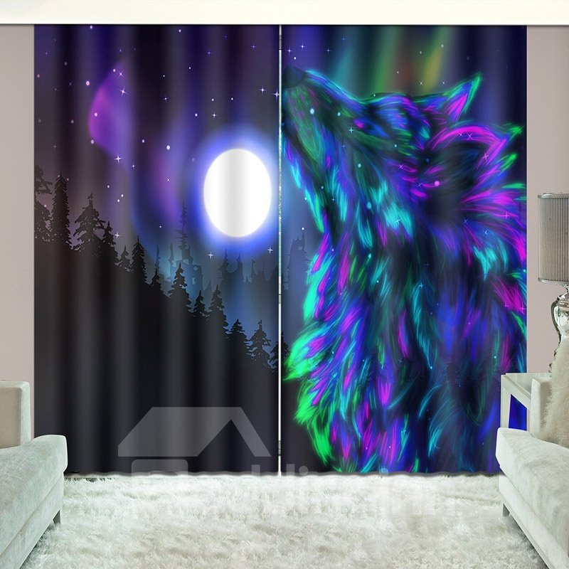 Aurora Wolf Magical Starry Night Blackout Curtain with Light Shielding