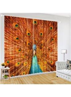 Peacock Spreading Tail Feathers Vivid Animal Print Curtain
