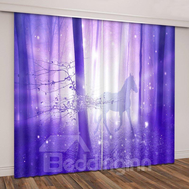 Shining Purple Horse in Magical Wood Vivid Printed Curtain