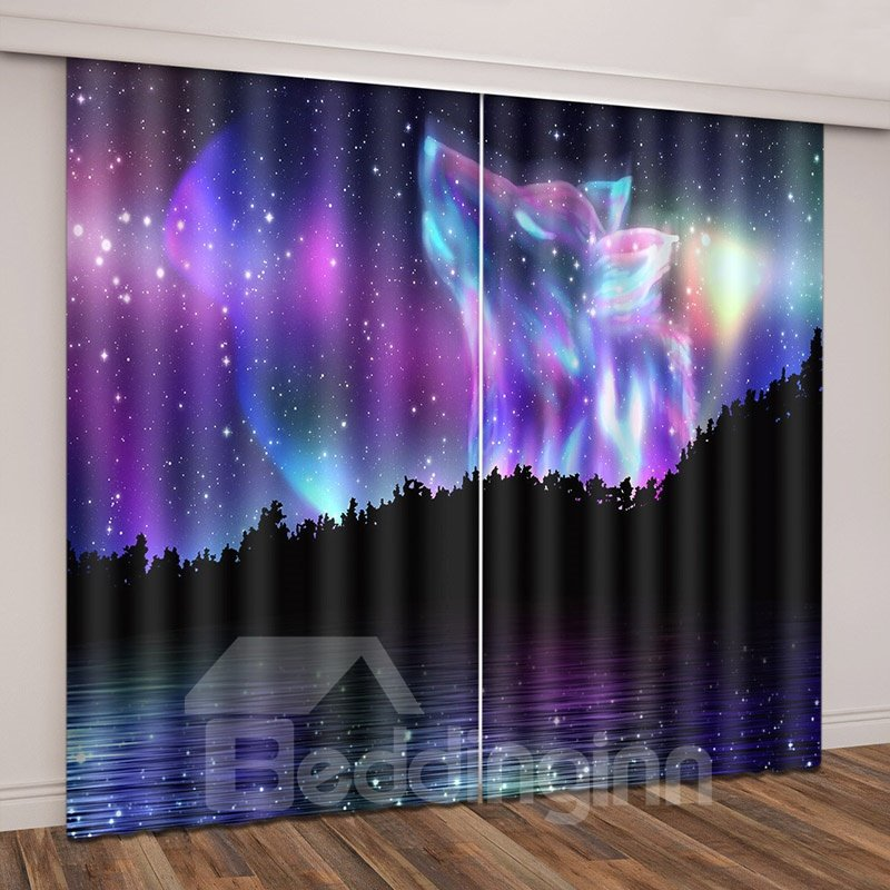 Aurora Wolf Magical Starry Night Decorative Curtain with Light Shielding
